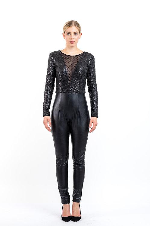 Jumpsuit in Leder - Look mit Pailletten - Verzierung