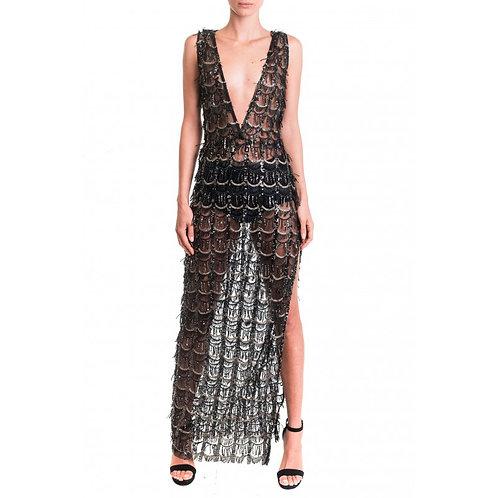 Transparentes Kleid mit tiefem Ausschnitt und Schlitzdetail