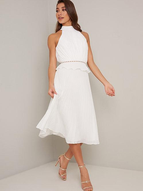 Plissiertes Midi - Kleid