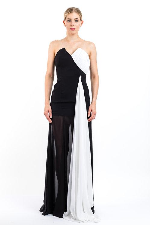 Zweifarbiges Abendkleid aus Seidengeorgette mit V-Ausschnitt