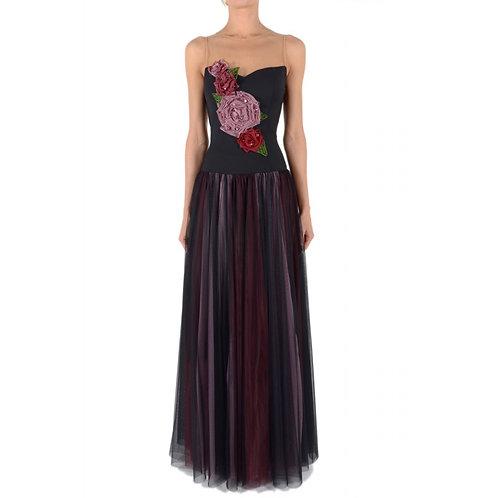 Abendkleid mit Tüllrock und handgefertigte Organza - Blumen Applikation