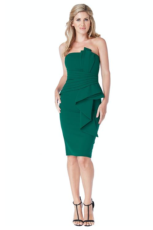 Midi - Kleid mit gefaltetes Oberteil