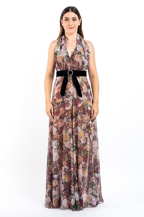 Bedrucktes Kleid mit Schleifengürtel aus Samt