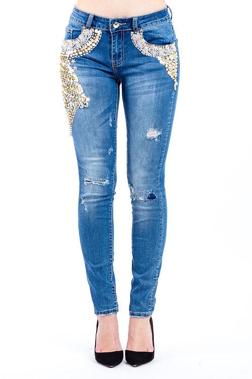 Jeans Skinny Fit mit Paillettenbesatz