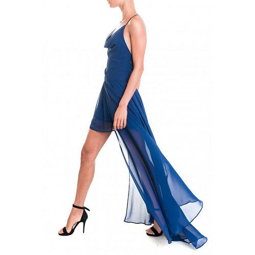 Langes Kleid aus Georgette mit Rückendetail