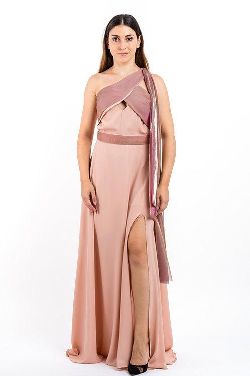 One - Shoulder Abendkleid mit Bindedetail an der Schulter