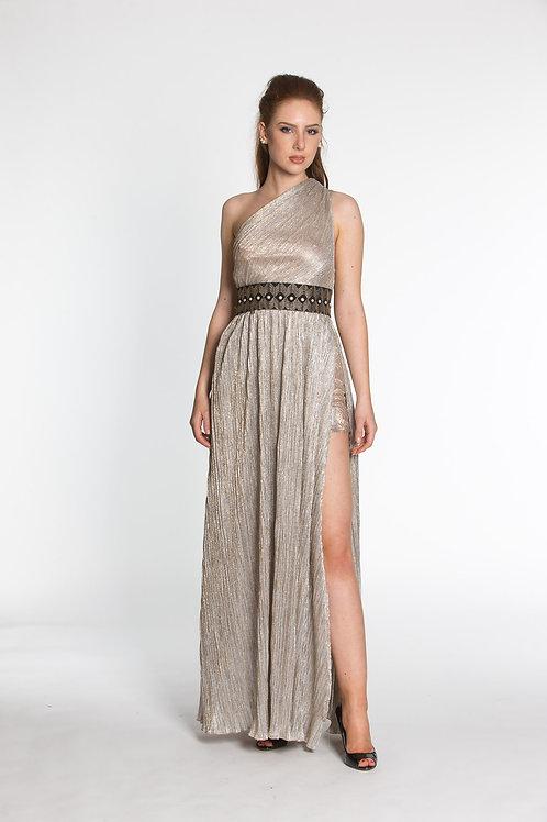 Abendkleid mit Metallic - Effekt und seitlichen Schlitzen