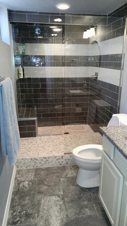 completed custom bathroom with walk in shower