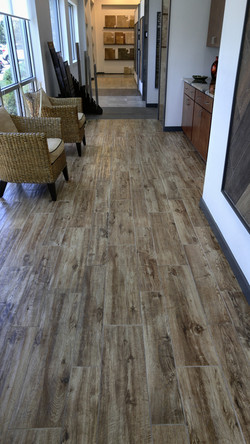 wood look porcelain tile commercial setting