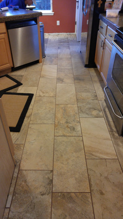 stone look tile in kitchen