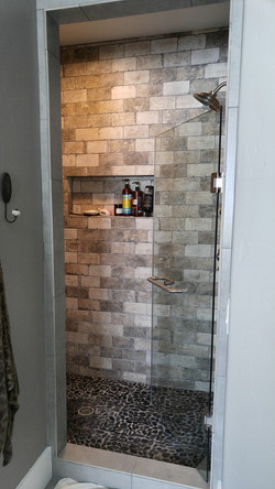brick wall tile in shower