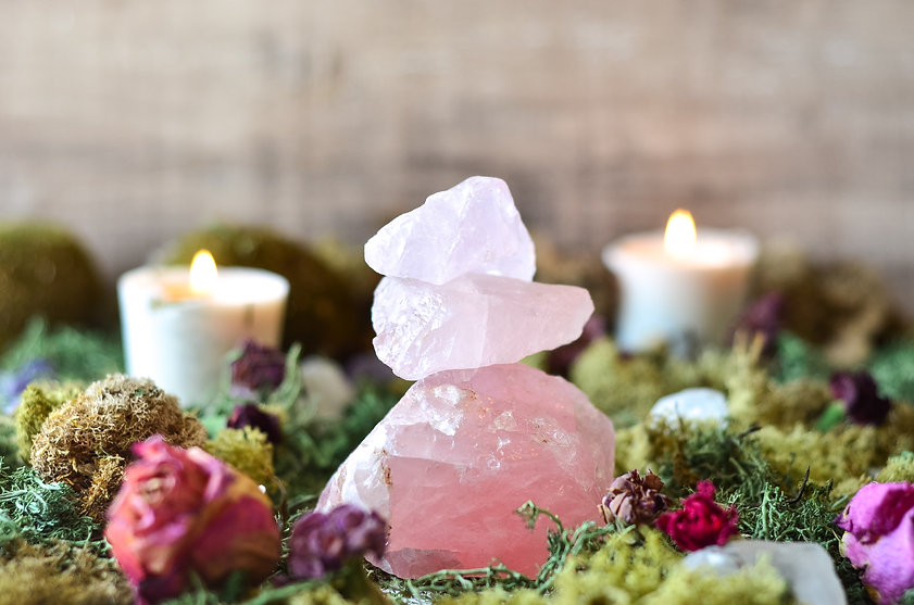 stacked rose quartz in fairy garden.jpg