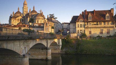 Perigueux Cathedral from across the river Isle