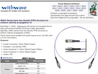 RF Cafe : Withwave intro High Performance Cable Assembly (W601 cable) : DC to 110 GHz