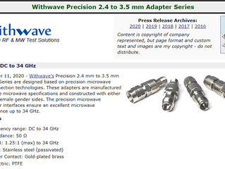 RF Cafe : Withwave intro New Precision 2.4 to 3.5 mm Adapter Series