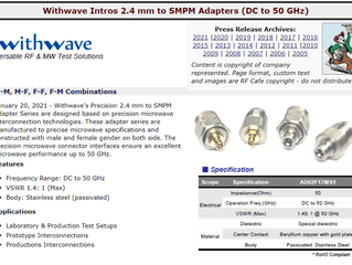 RF Cafe : Withwave Intros 2.4 mm to SMPM Adapters (DC to 50 GHz)