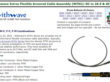 RF Cafe : Withwave Intros Flexible Armored Cable Assembly(W701) : DC to 26.5 & 40 GHz