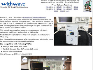 RF Cafe : withwave intros Automatic Calibration Module