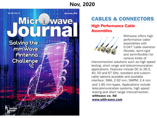 "High Performance Cable Assembly with .047"" cable O.D on Microwave Journal (Nov, issue, 2020)"
