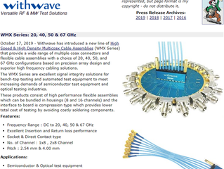 RF Cafe : withwave intros High Speed MultiCoax Cable Assemblies (WMX Series)