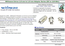 RF Cafe : Withwave Intro 1.0 mm to 1.0 mm Adapter Series (DC to 110 GHz)