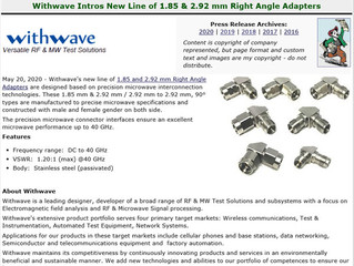 RF Cafe :Withwave Intros New Line of 1.85 & 2.92 mm Right Angle Adapters