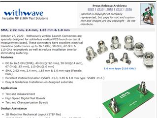 RF Cafe : Withwave Intro Vertical Launch 1.0 mm Connector (DC to 110 GHz)