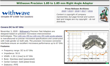 RF Cafe : Withwave New Precision 1.85 mm to 1.85 mm Right Angle Adapter (DC to 67 GHz)