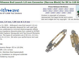 RF Cafe : Withwave intro End Launch 1.o mm Connector(DC to 110 GHz)