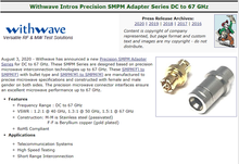 RF Cafe :Withwave Intro Precision SMPM Adapter Series (DC to 67 GHz)