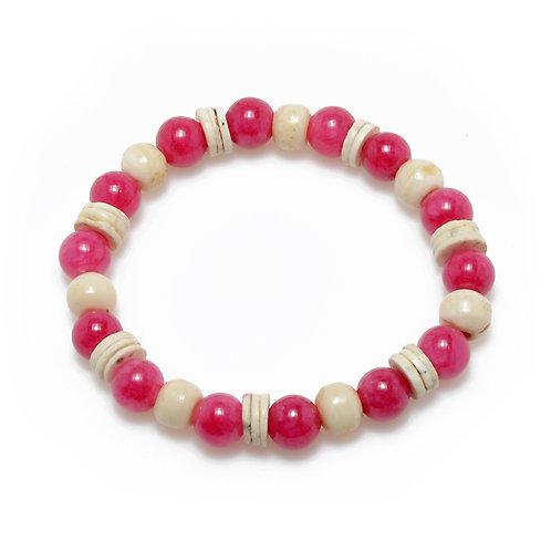 Pink Jade, Bone & Ostrich Shell Bracelet