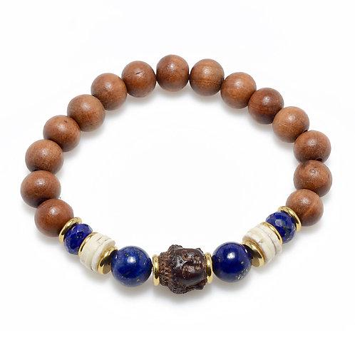 Buddha and Lapis 10mm Bracelet