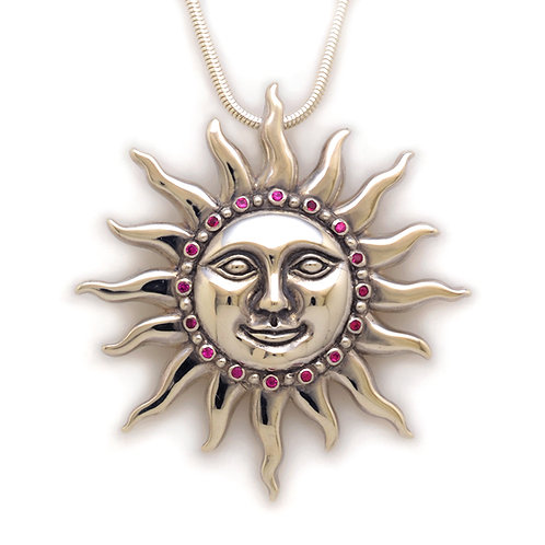 Silver Sun pendant with Pink Sapphire