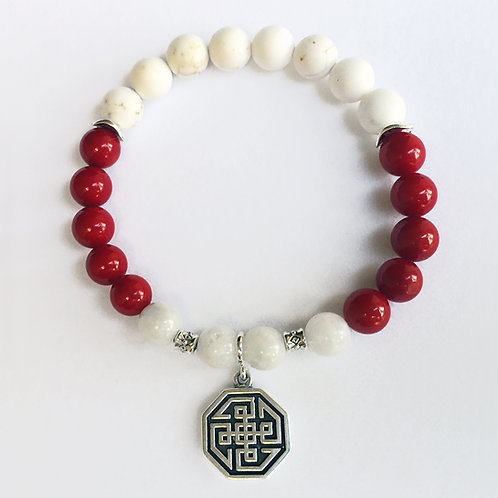 Moonstone & Coral Hu Bracelet
