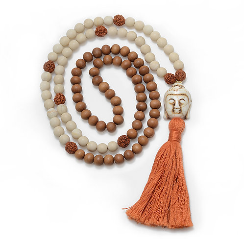 Buddha capped w/ 18k Ring, 108 Prayer Bead Mala