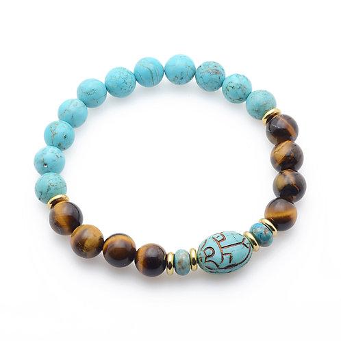 Turquoise Scarab & Tiger Eye Bracelet