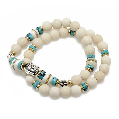Buddha, Turquoise & River Jasper Bracelet Pair