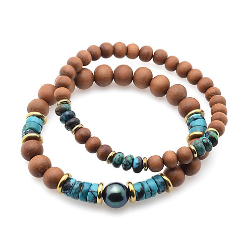 Turquoise and Black Pearl w sandalwood