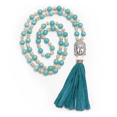 Buddha Aventurine & Shell Tassel Necklace
