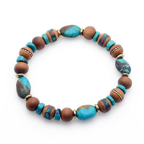 Turquoise and Sandalwood Bracelet