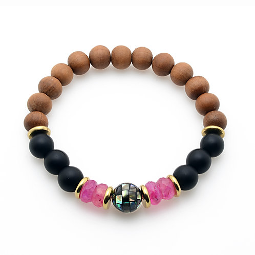 Mother of Pearl, Pink Moonstone and Onyx Bracelet