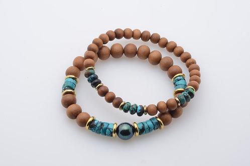 Pearl, Turquoise & Sandalwood Bracelet