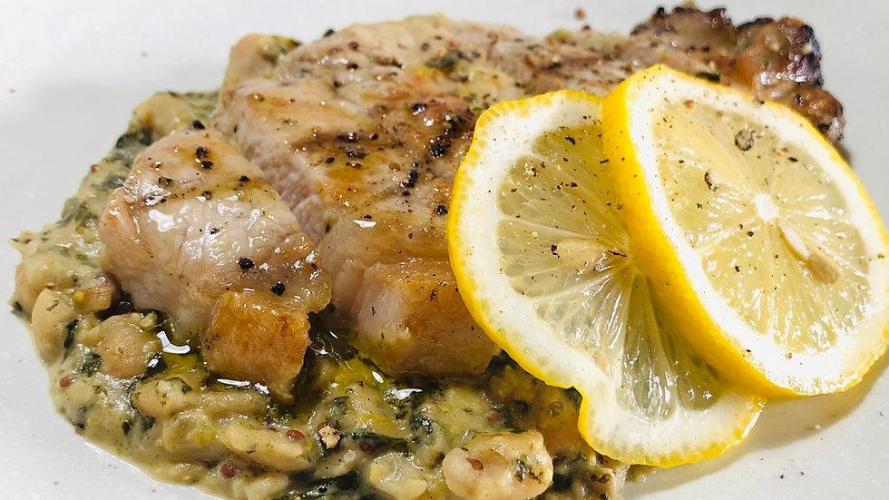 Pork Chop, garlicky white beans, spinach and mustard