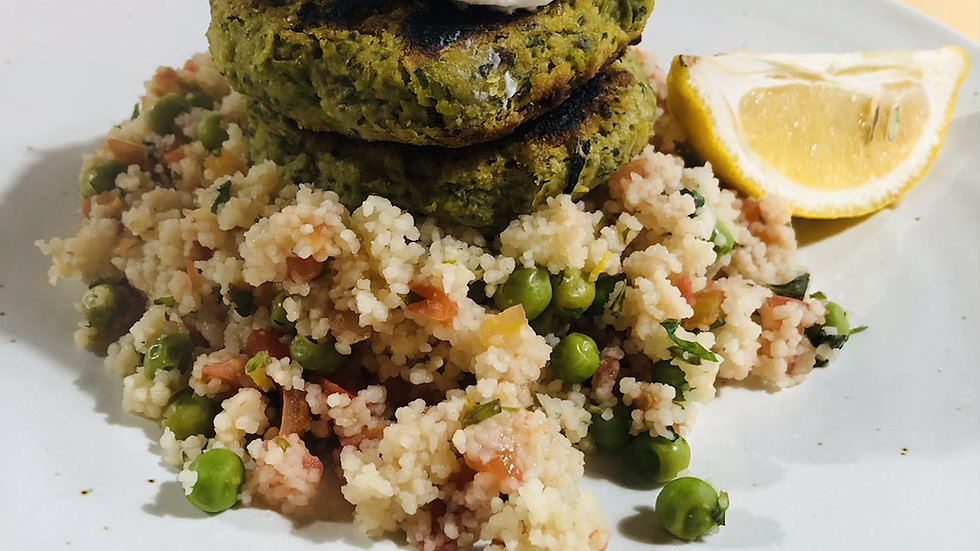 Pea falafel with couscous and mint