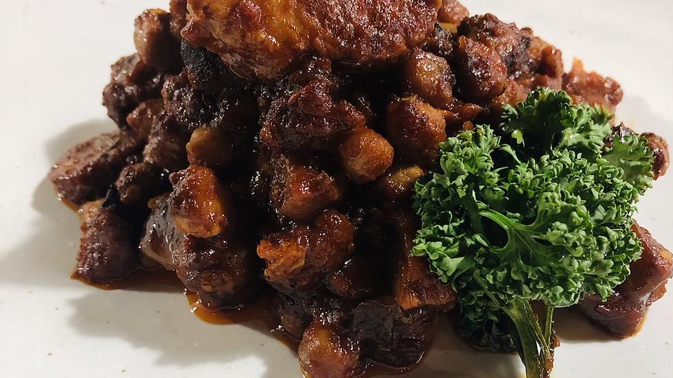 Chorizio, pork belly and chickpea casserole.