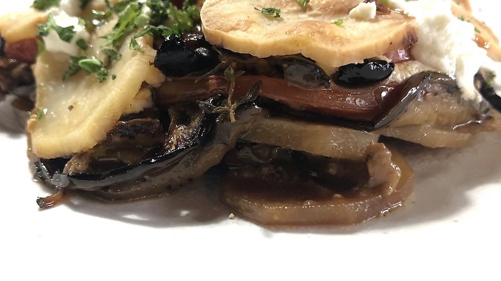 Eggplant, potato and goats cheese gratin