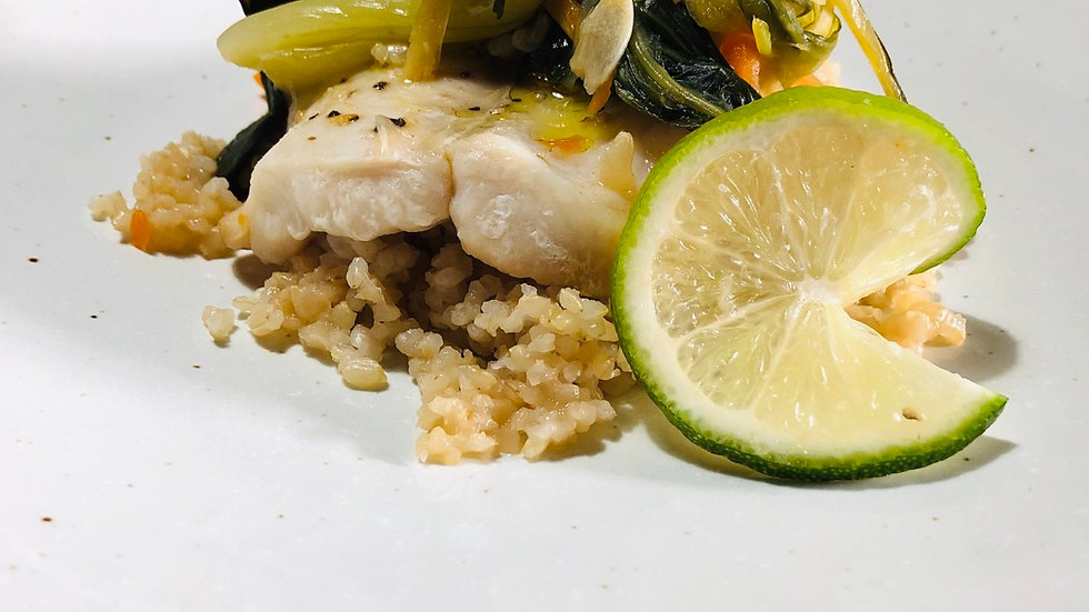 Steamed ginger soy fish, Asian vegetables, brown rice