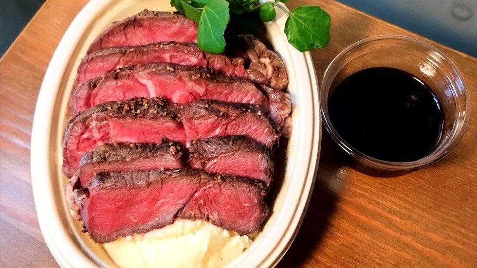 Steak, mash, red wine jus
