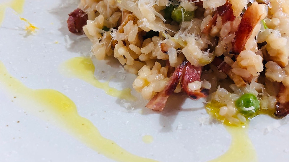 Risotto with bacon, peas and parmesan