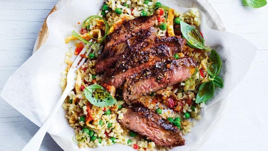 Red curry steak with cauliflower rice